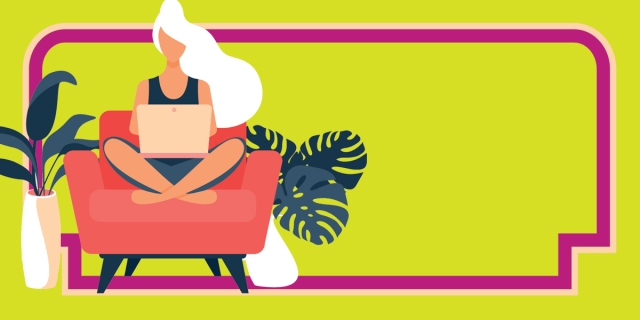 A simplistic digital illustration of a person with long white hair seated at an armchair with a laptop, surrounded by houseplants.