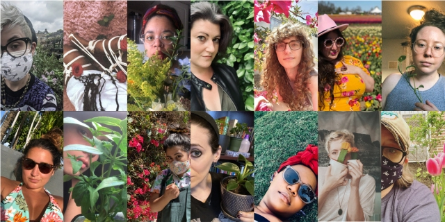 Collage of our staff surrounded by nature. For example, Kayla is in a bikini with palm trees behind her; Dani is in her home holding a bouquet; Carmen is lying in some lush grass; Heather is near some tulips. Some are wearing masks outdoors, some are inside their homes. It's real cute because it's spring!