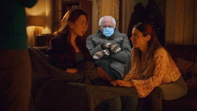 A cut-out Bernie Sanders sits between Waverly Earp and Nicole Haught in Wynonna Earp