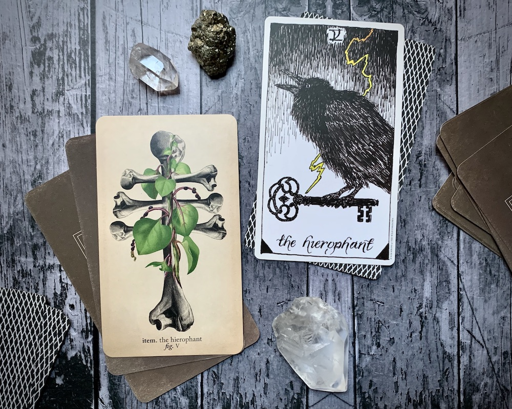 Two different Hierophant cards from different decks