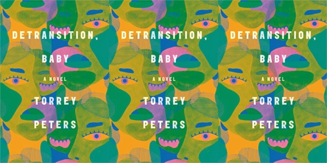 An image repeated three times of the cover of Torrey Peters' Detransition, Baby