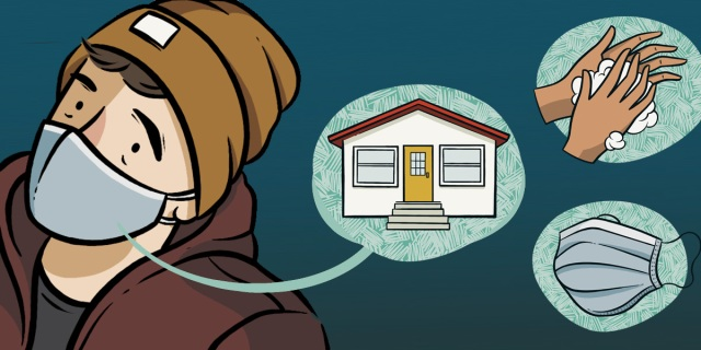 A. wears a mustard beanie and maroon hoodie and a mask. Next to them three icons float in teal bubbles — a house (stay at home), a pair of soapy hands (wash them!) and a face mask (wear it!)