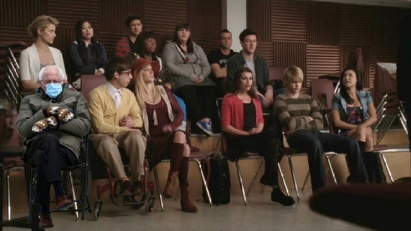 A cut out of Bernie Sanders sits in the choir room of Glee, he Is just as unhappy to be there as the rest of us are.