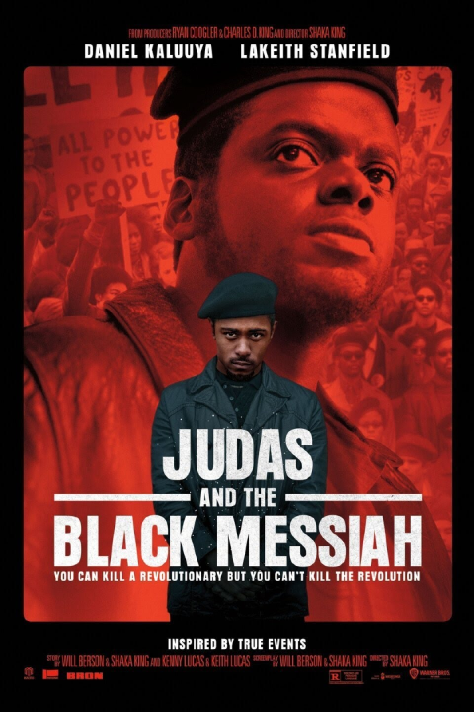 "Image shows text that reads ""Judas and the black messiah"" in white. a black male stands in the text wearing all black and a beret, while another one is juxtaposed behind him with a red filter covering him."