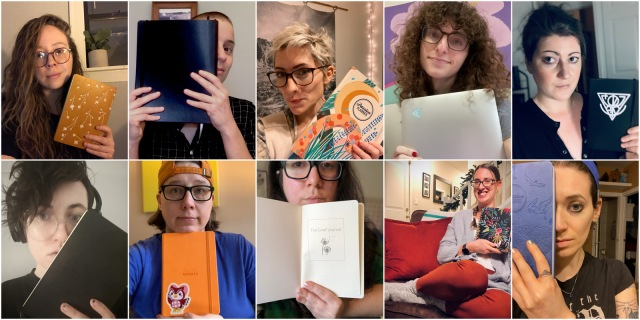 Collage of AS staff holding up notebooks and planners for the new year