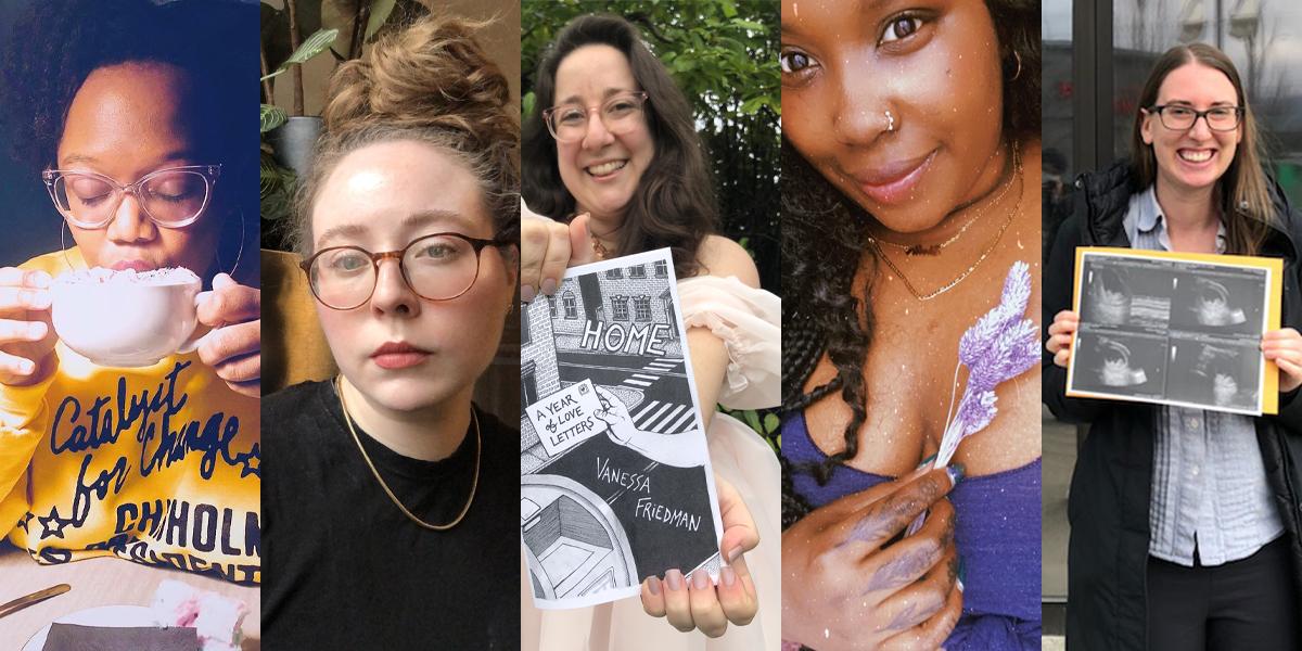 Collage avec des photos de Carmen, Rachel, Vanessa, Shelli et Casey
