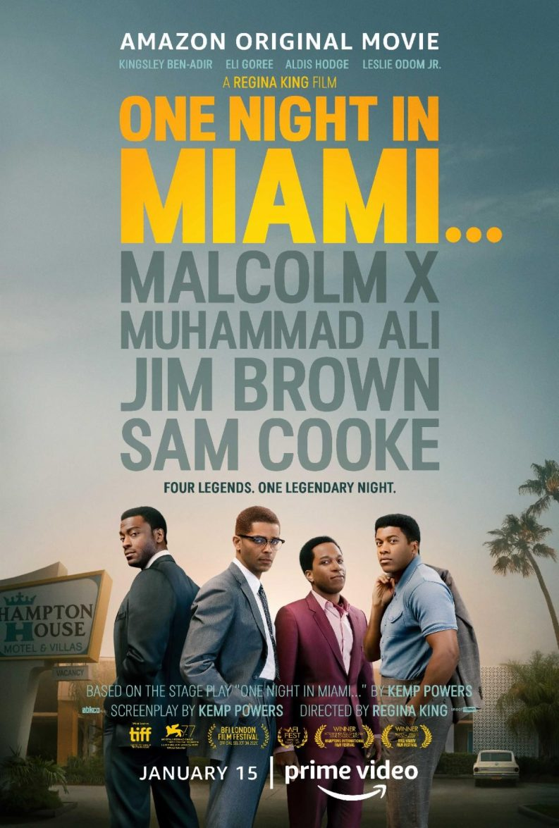 Image shows four black men (Sam Cooke, Muhammed Ali, Jim Brown and Malcolm X) staring into the camera while behind them there is an image of The Hampton House Hotel.