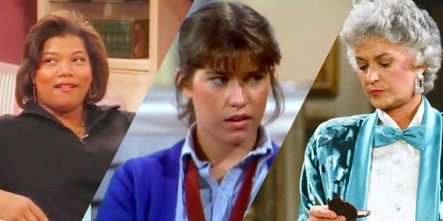 A collage of three sitcoms from the list: Khadijah from Living Single, Jo from The Facts of Life, and Dorothy from The Golden Girls.