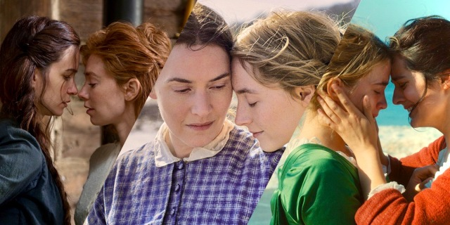 "A three-fold collage of famous lesbian movie period pieces: First, the newly released ""The World To Come"" in which two lesbians in the 1800s stand inches away from each other's nose, then ""Ammionate"" in which two lesbians from the 1800s also stand inches away from each other's nose, and finally ""Portrait of a Lady on Fire"" in which once again lesbians from the 1800s stand inches away from each other's nose — this time on a beach."