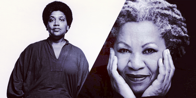 A two-fold collage of Audre Lorde and Toni Morrison in black-and-white portraits.