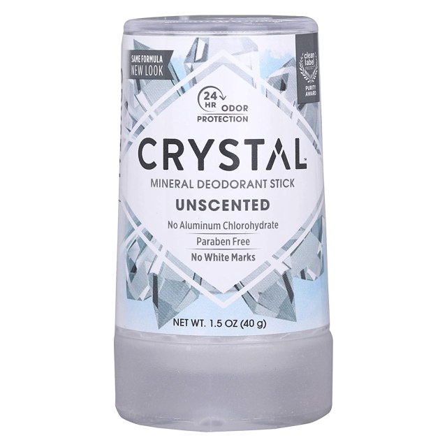 "A silver and blue deodorant stick reads, ""Crystal Mineral Deodorant Stick"""