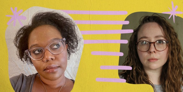 A graphic of Carmen and Rachel's faces cut out against a mustard yellow background with pink horizontal lines floating in the center.