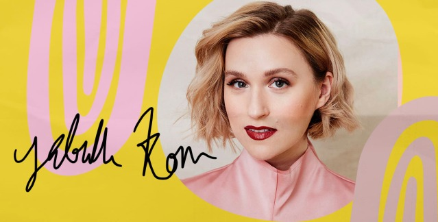 Gabrielle Korn's headshot against a papery, mustard and pink background with her signature on top