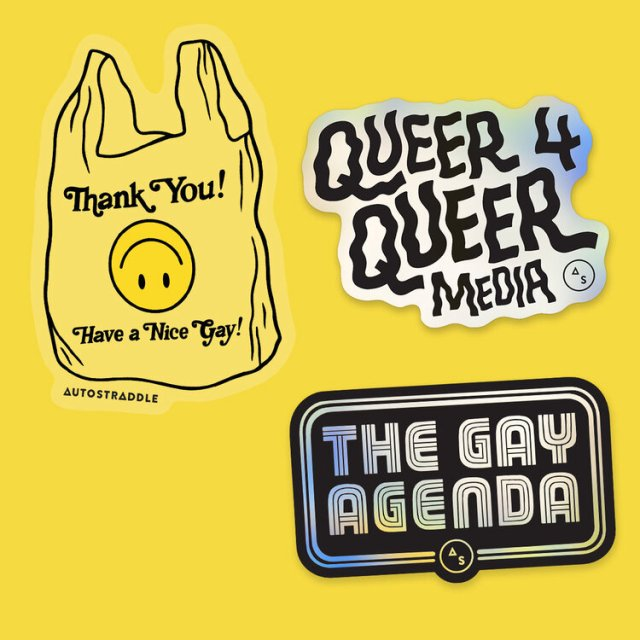 Graphic showing three stickers: Have a Nice Gay, Queer 4 Queer Media, and The Gay Agenda
