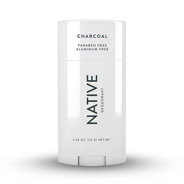 "A white deodorant stick reads, ""Native: Charcoal"""