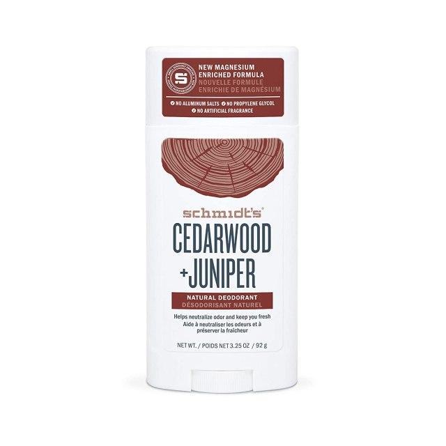 "A white deodorant stick that reads, ""Schmidt: Cedarwood & Juniper"""