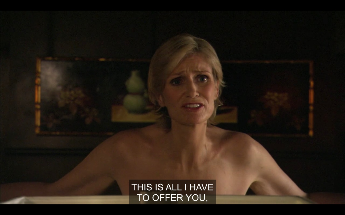 """Joyce is naked in Phyllis's office saying """"this is all i have to offer you"""""""