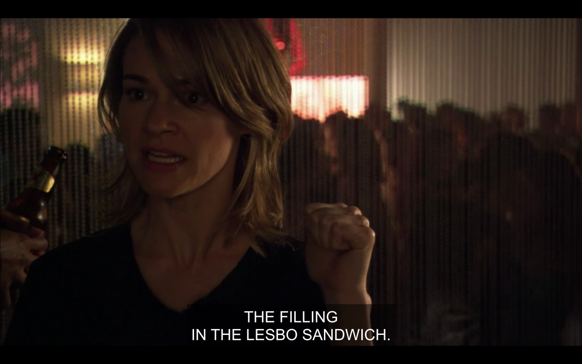 """Alice gestures towards Dylan saying """"the filling in the lesbo sandwich"""""""