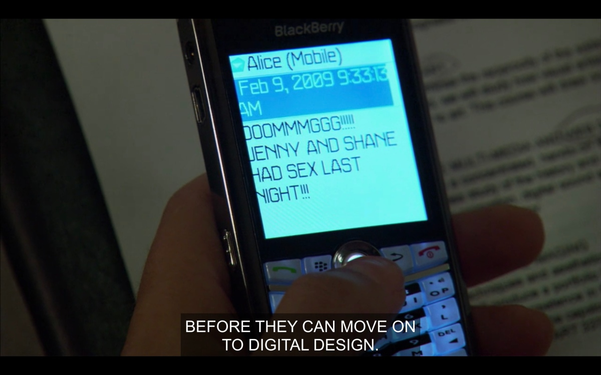 Text message from Alice reading OMGGGGG JENNY AND SHANE HAD SEX LAST NIGHT!!