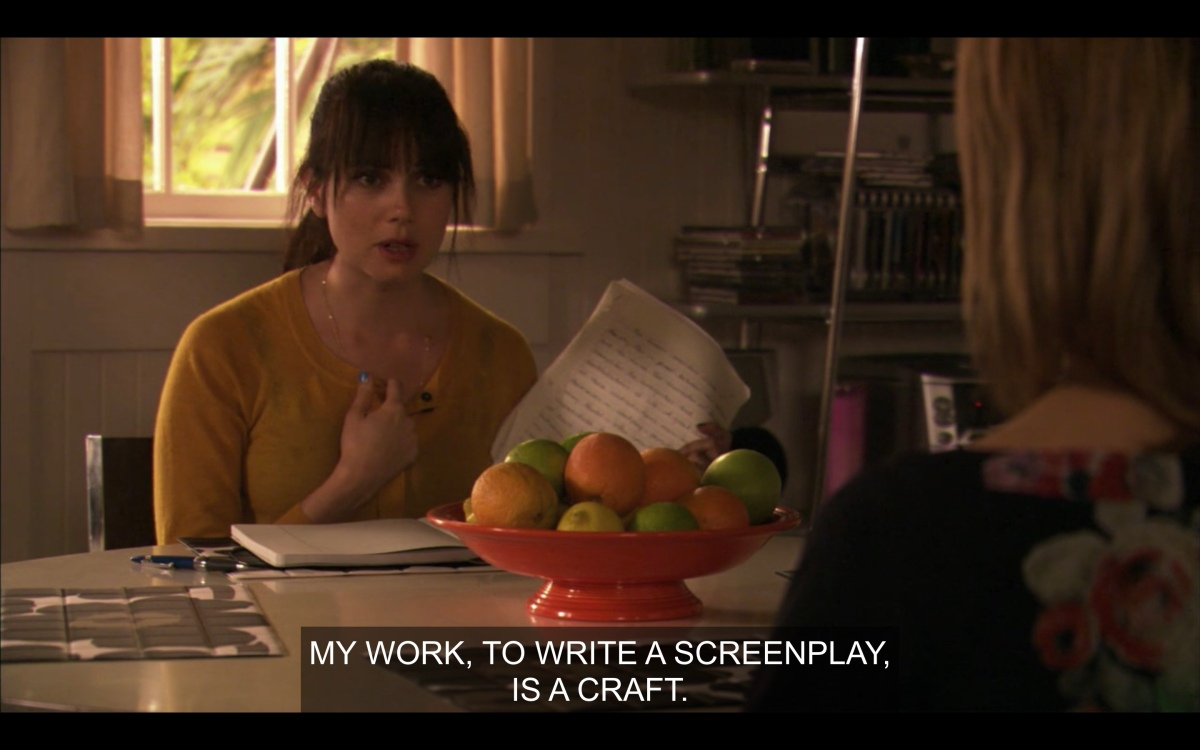 Jenny at her kitchen table talking to Alice telling her that writing a screenplay is a craft