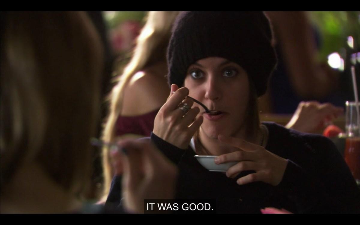 Shane eats yogurt