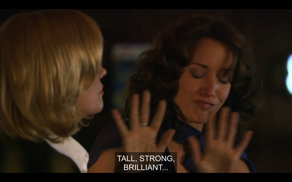 """Phyllis says """"tall, strong, brilliant?"""" while Bette is like, """"please no"""" with her hands"""