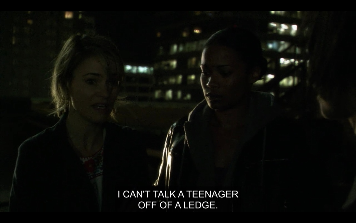 """Tasha and Alice on the top of a building """"I can't talk a teenager off of a ledge"""""""