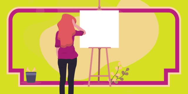 An illustration of a person with long hair standing in front of an empty canvas, hand raised to their head as if confused or overwhelmed.