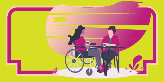 A stylized illustration of two people sitting across from each other at a small outdoor table in discussion; one person has long hair and is using a wheelchair, one person has short hair and is seated in a chair