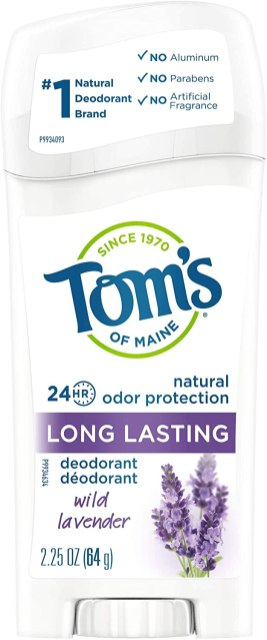 "A white and purple deodorant stick reads, ""Tom's of Maine: Lavender"""