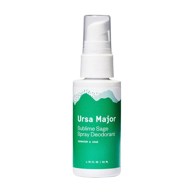 "A white and green spray bottle reads, ""Ursa Major: Sublime Sage"""