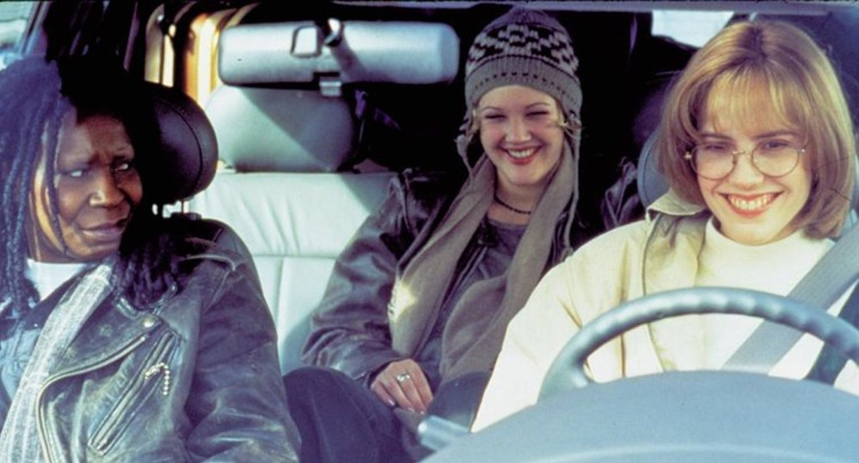 """Three women in a car in a still from """"Boys on the Side"""""""