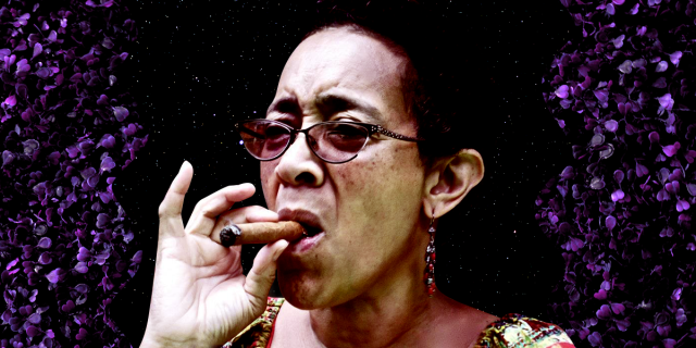 Carmen's Aunt Lorna smokes a cigar. She's a light skin Black woman in her late 60s. She is cut out against a black starry sky and there are purple rose petals growing out of the side of the image like a vine.