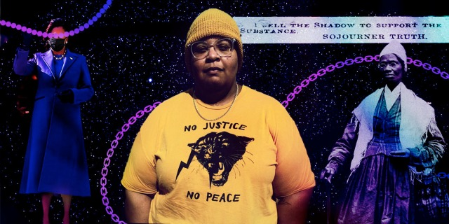 "A portrait of the author in the middle, in a yellow shirt that reads ""No Justice No Peace"" with the Black Panthers logo and a yellow beanie cap. To their left side is a cut out of Kamala Harris from Inauguration Day 2021 and to their right side is a cut out of the slavery abolitionist Sojourner Truth. All three images are connected by pearl necklaces and chain link necklaces, both colored in purple. They are against a purple starry night sky."