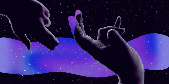 Two hands are covered in darkness as they finger deep space, the space is in purple starry skies and it drips over the index and pointer finger of one hand facing upwards.