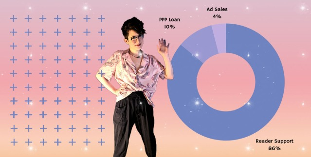 Nicole, A+ and Fundraising Director, stands in front of a sunset gradient background of plus signs and a pie chart