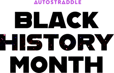 "The words ""Black History Month"" are in bolded, center font. The color is black. The word ""history"" has a light purple starry sky within it."