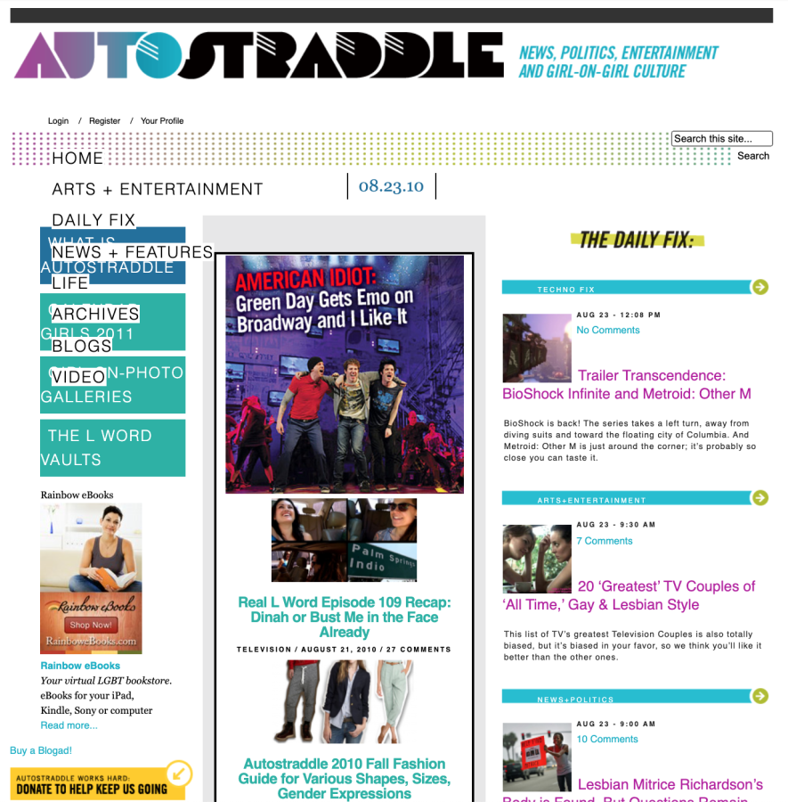 an old school screenshot of autostraddle.com...with a feature of Green Day on broadway of all things!