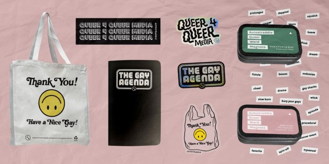 autostraddle's limited edition fundraising collection: a tote, agenda, bumper sticker, series of three stickers and magnetic word poetry kits (tv and authors)