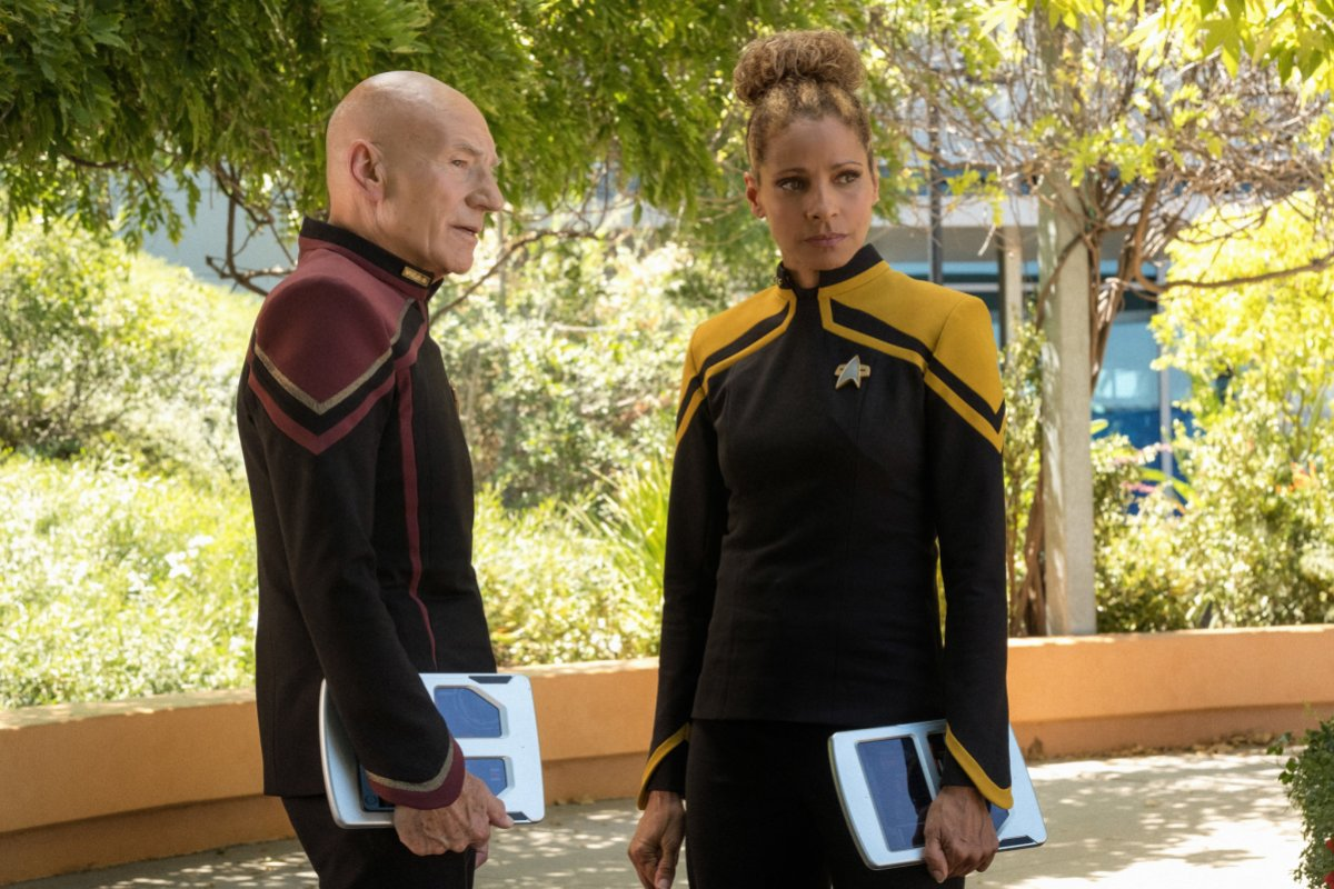 """Michelle Hurd with Captain Picard in """"Picard"""" (2020)"""
