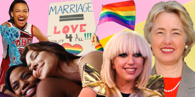 2009 collage: Santana, a still from Drool, a rainbow flag and a protest poster, Lady Gaga and Mayor Annise Parker