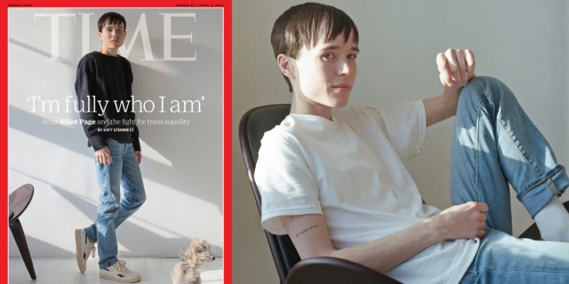 Elliot Page is on the cover of Time magazine. He is in a black sweater and blue jeans, leaning against a white wall. In the accompanying photo, Elliot is a white tee and blue jeans, leaning back in a chair.