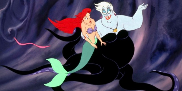 """From """"The Little Mermaid,"""" Ariel is being held in Ursula's arms as Ursusla explains the mysteries of the sea to her."""