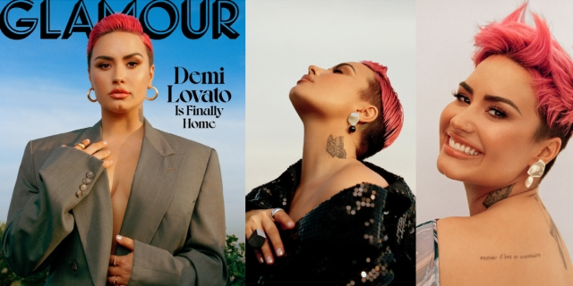 In a three-way collage, Demi Lovato, a bisexual pop star, is on the cover of Glamour magazine in a grey suit coat and nothing underneath, then she's staring off to the side of the camera, and finally she's looking directly into the camera in a smiling close up. In all three images, she has short pink hair in a pixie haircut.