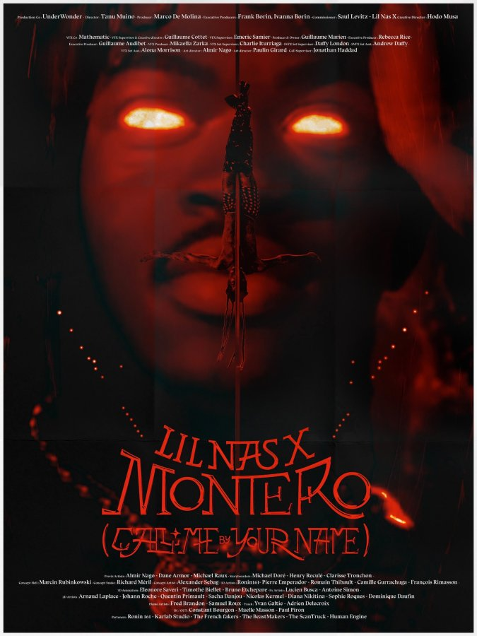 Image shows Lil Nas X with glowing red eyes. There is a red filter across the image and in the center a smaller version of Lil Nas X is coming down a stripper pole upside down.