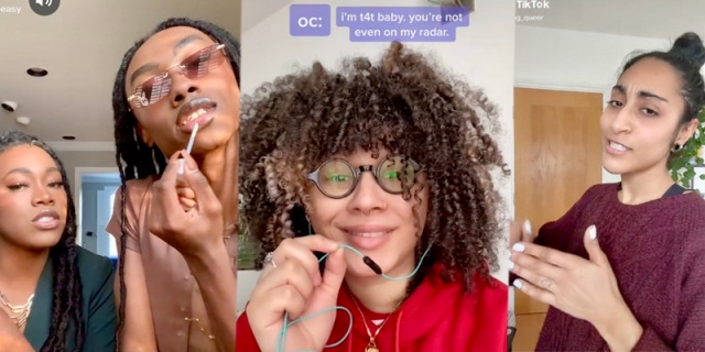 "In a three part collage, left to right: two stems putting on make up in the bathroom mirror, a trans person with curly hair around their face talking into an earphone with a microphone proclaiming they are ""T4T,"" and a queer person with their hair in a top ponytail facing the side of the camera."