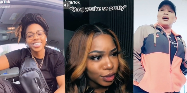 "A three-way collage of: A black masc queer person with locks pulled into a bun in a car, a femme person with long hair and make up stares off to the side underneath the phrase ""omg you're so pretty,"" and a queer person in an orange sweatshirt sings to the camera."