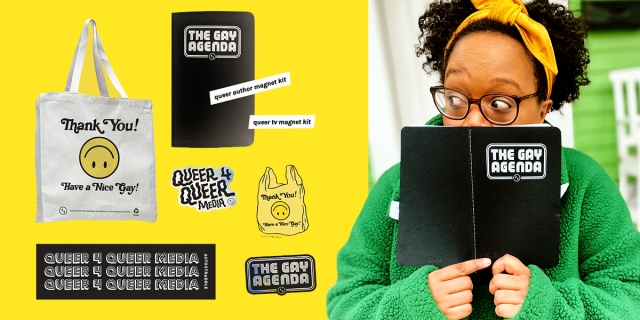 "fundraising perks collage - totes, stickers, magnetic poetry and journal — carmen is peering over the black ""gay agenda"" softcover journal."