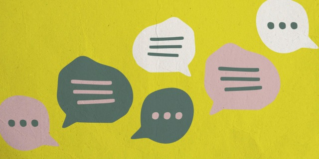 A series of speech bubbles against a papery background.