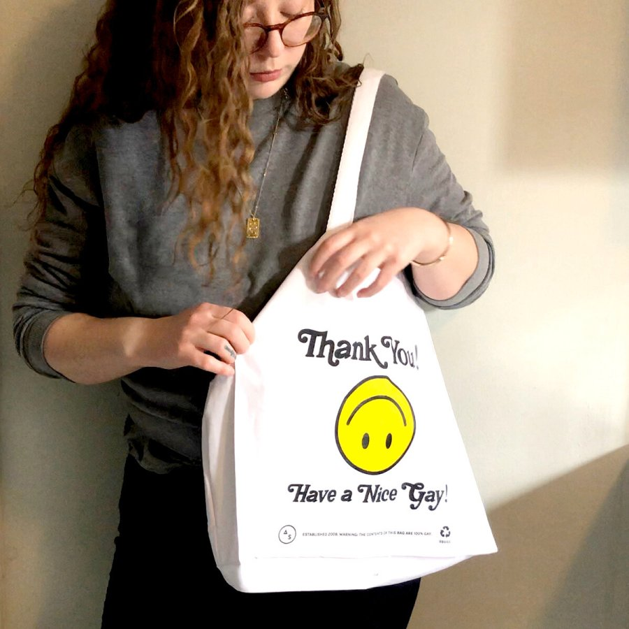 "Rachel with ""Thank You Have a Nice Gay"" tote bag"
